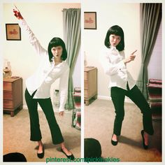 my halloween costume mia wallace from pulp fiction all i did was refashion a mens shirt to have pointy sleeves and a pointy front and i made some black