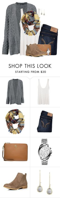 """Cable knit cardigan, plaid scarf and ankle boots"" by steffiestaffie ❤️ liked on Polyvore featuring Boohoo, The Row, Hollister Co., Tory Burch, Michael Kors, Dorothy Perkins and Kendra Scott"