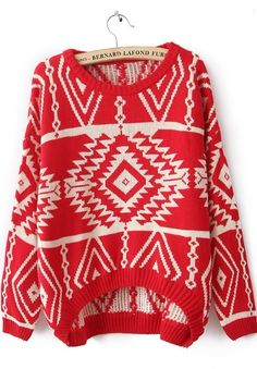 Red Long Sleeve Geometric Pullovers Sweater