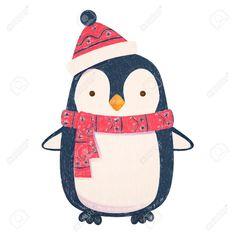 Penguin Cartoon Illustration Penguin In Scarf And Hat Ad Cartoon Happy New Year Penguin Illustration, Christmas Illustration, Christmas Scarf, Christmas Fun, Painting For Kids, Art For Kids, Penguin Cartoon, Woodland Nursery Prints, Christmas Cartoons