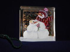 GLASS BLOCK LIGHTHand paintedSnowman Giving by bestemancreations, $32.00