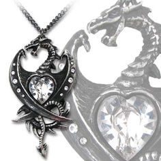 Alchemy Gothic - Diamond Heart Dragon Necklace P609