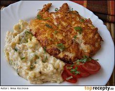 Kuřecí řízky v sýrovém těstíčku po sté, se šťouchanými bramborami Risotto, Food And Drink, Meat, Chicken, Ethnic Recipes, Cooking, Recipies, Cubs