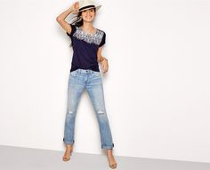 Buy women's clothing from J.Crew Factory including women's dresses, blazers and boots, all on sale. Find great prices on skirts, chinos, and sweaters. Versatile Denim, Skirts With Boots, Boyfriend Jeans, Spring Outfits, My Style, Classic Style, J Crew, Service Ideas, Fashion Looks
