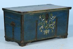 Hand Painted Blue Russian Trunk Circa 1890
