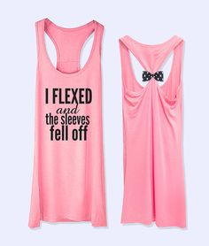 I Flexed and the sleeve fell off  workout  fitness bow tank top with 9 colors tank selection  PK_089A on Etsy, $27.31 CAD