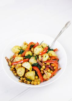 Warm Spiced Potato Salad With Chickpeas & Spinach. Recipe @ theglowwithin.com