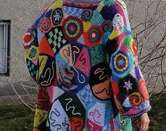 ORIGINAL crochet freeform capa  hippie de patchwork hippie