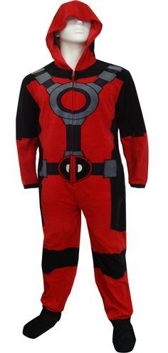 WebUndies.com Marvel Comics Deadpool Hooded Fleece Onesie Pajama