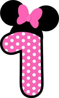 Passatempo da Ana: Números Minnie. Red and Pink Minnie´s numbers. Free Printables