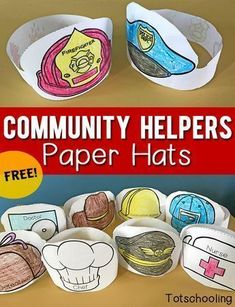Community Helpers Printable Paper Hats Free Printable Paper Hats That Kids Can Color And Wear When Learning About Community Helpers Occupations Or When Doing Dramatic And Pretend Play Great For Preschool And Kindergarten Community Helpers Activities, Community Helpers Kindergarten, Kindergarten Social Studies, Kindergarten Jobs, Community Helpers Lesson Plan, Preschool Themes, Preschool Lessons, Preschool Activities, Space Activities