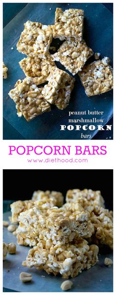 Chewy peanut butter and marshmallow popcorn bars studded with salty, crunchy peanuts.