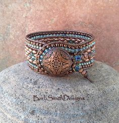 Copper Blue Beaded Leather Cuff Bracelet  The by BarbSmithDesigns