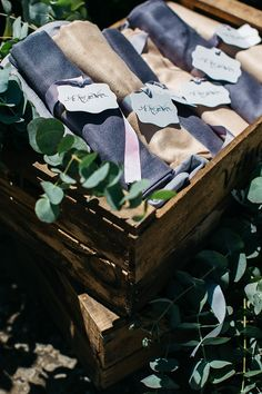 Wedding Favours Warm Scarves Calligraphy Tags Ribbons Wooden Crates Greenery Rustic Chic Greenery Wedding Ideas in Tuscany http://www.tastino0.it/