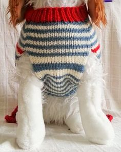 Diy Crafts - Ruffle and Stripes Knit Dog Sweater. Perfect for adult Cavalier King Charles Spaniel. Dog Sweater Pattern, Crochet Dog Sweater, Dog Pattern, Sweater Knitting Patterns, Hand Knitting, Dog Sweaters, Winter Sweaters, Dog Jumpers, Diy Vetement