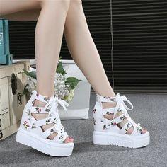 Platform Wedge Sandals, Platform Shoes, Girls Sandals, Girls Shoes, Korean Sandals, Korean Shoes, New Fashion, Fashion Shoes, Nude Wedges