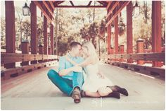 Rustic Engagement Photos. Under Wood Bridge. Sara Purdy Photography, Princess Place Preserve, FL