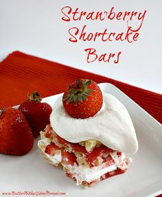 Strawberry Shortcake Bars ~ Butter with a Side of Bread #recipe