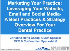 """It was another amazing training seminar with """"REVITALIZING YOUR PRACTICE"""" Management Workshop Series by Ms. Karina Santos! Christina Hong Chang of Spaceship8 had a great time presenting: Marketing Your Practice: Leveraging Your Website, Email and Social Media-A Best Practices & Strategy Overview For Your Practice on July 9, 2014 & July 23, 2014! It was another great group of Doctors, Practice Staff, AMi IT Support-Ron & Henry Schein Dental Equipment Sales Reps, 2 Mikes…"""