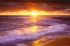 Zonsondergang bij Cliffs Beach, San Diego Poster bij AllPosters.nl