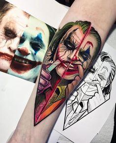 33 Cool Joker Tattoos That You Will Love - Millions Grace Tattoos, Clown Tattoo, Tattoos For Guys, Traditional Tattoo, Art Tattoo, Sleeve Tattoos, Leg Tattoos, Joker Tattoo Design, Tattoo Designs