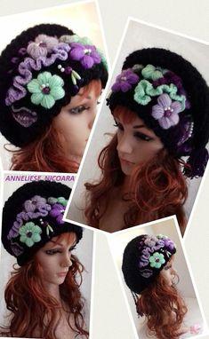 Crochet Slouchy hat /Winter Hat /Flowered Hat /Unique design Hat /Women Winter Hat/Bohemian Hat embroidered/blue pink shades