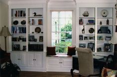 Custom Made Built In Bookcases - Build in bookshelves with window glass