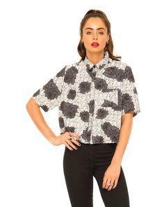 Motel Leigh Cropped Box Shirt in Static Rose, TopShop, ASOS, House of Fraser, Nasty gal