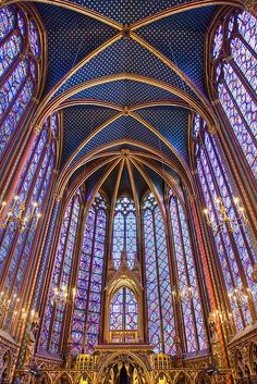 """Place to visit. Saint Chapelle, Paris, France - This Gothic chapel is considered one of the highest achievements of the Rayonnant period. It's most prominent feature is the upper level, which is encompassed by floor-to-ceiling stained glass windows. My Art History I teacher described her experience here as \""""being inside of a jewelry box\"""""""