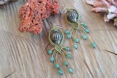 handmade macrame earrings with old Indian metal bead and aventurine 6 mm ~925 silver hooks