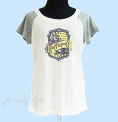 Hufflepuff shirt Badger thin soft tops**off white grey**wide neck sweatshirt, crew neck tshirt size S M L  **quote tshirt by TuesdayTee on Etsy https://www.etsy.com/listing/272101562/hufflepuff-shirt-badger-thin-soft