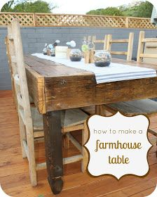 DIY Farmhouse Table : can we please have one??? We will need lots of seating to eat Serina's culinary delights.
