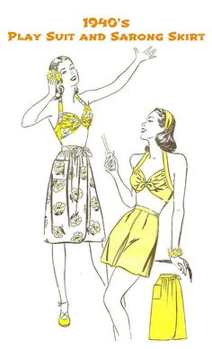 """1940's UNCUT SARONG, PLAYSUIT Sewing Pattern - Vintage Advance 3894, Misses' Size 16 Bust 34"""" - Hawaii, Tropical, Dorothy Lamour - Hey, I found this really awesome Etsy listing at https://www.etsy.com/listing/203264778/1940s-uncut-playsuit-and-sarong-skirt"""