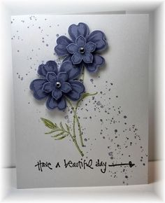 The card - flowers are from SU.  I stamped them with wisteria ink on wisteria paper and then punched them out with the matching punch. ...