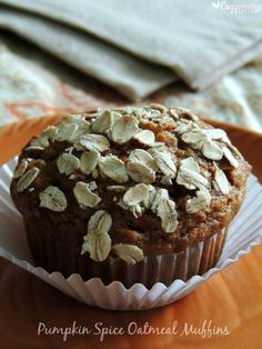 Pumpkin Spice Oatmeal Muffins- a yummy, healthy way to start your day!  And I love that you only need to dirty one bowl to mix them up.  Double score!