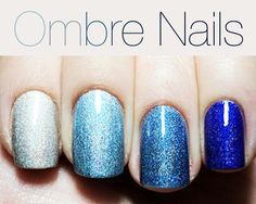 blue shades ombre glitter manicure   ===========================    nail art | nail polish | nails | nail design