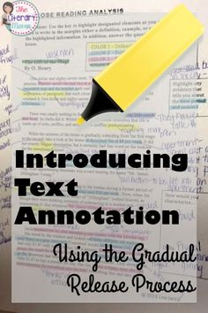 Students can struggle with reading for a variety of reasons: rich vocabulary, lack of background knowledge, the author's writing style. To scaffold difficult texts, teach students to annotate through the gradual release process. 8th Grade Ela, 6th Grade Reading, Middle School Reading, Sixth Grade, Second Grade, Reading Lessons, Reading Skills, Teaching Reading, Guided Reading