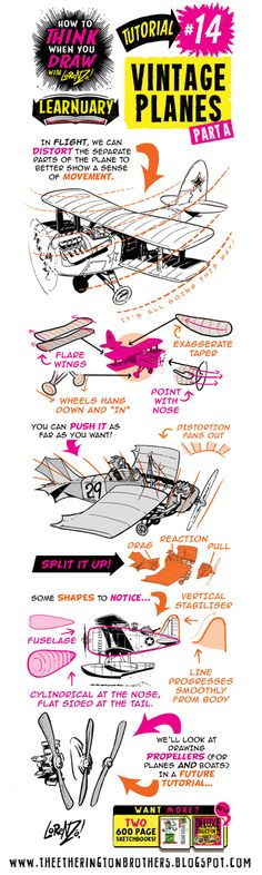 The Etherington Brothers: How to THINK when you draw VINTAGE PLANES tutorial #LEARNUARY day THIRTEEN!