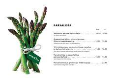 Asparagus menu in Rafla, Helsinki