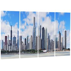 DesignArt Chicago City Urban Skyline 4 Piece Photographic Print on Wrapped Canvas Set