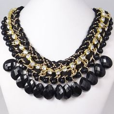 Art Deco Black Beads Cluster Necklace Bubble Bib by MiumiuJewelry, $11.99