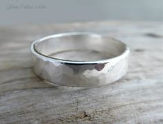 Men's Wedding Band - Thick Hammered Wedding Band for Men