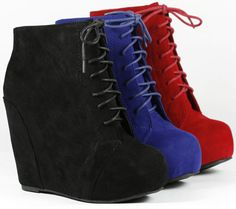 I JUST GOT THE BLUE PAIR :DDDD  Wedge Round Toe Platform Lace Up Ankle Bootie Boot Glaze Camilla5