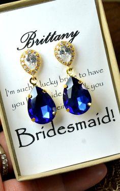 Bridesmaid jewelry sapphire blue Gold Drop by thefabbridal3, $29.99