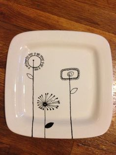 "Hand Painted Pottery - Square dinner plates - 9.0"" Diameter."