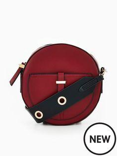 Womans Burgundy Dark Red Eyelet Strap Circle Crossbody Bag