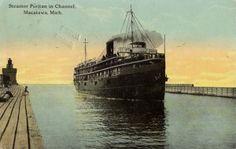 Steamer entering Holland Harbor. History-1-05-Boats-PuritanNienhuis5-ws