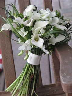 White callas, freesia and grass - Four Leaf Clover Designs NEPA