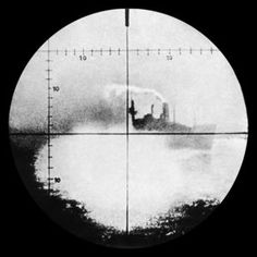"""German submarine sighting (targeting) an Allied merchant ship"" WWII History"