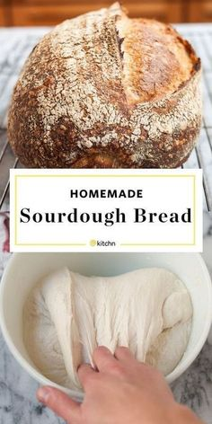 How To Make Homemade Sourdough Bread Completely From Scratch. With steps for a starter included, meaning this recipe calls for NO YEAST. This step by step artisan baking project is easy, we promise! Making Sourdough Bread, Sourdough Bread Recipes, Levain Bread Recipe, Sourdough Recipe From Starter, Recipe For Bread, Sourdough Boule Recipe, Overnight Sourdough Bread Recipe, Recipe Breadmaker, Sourdough Rolls